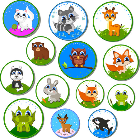 ideally: set of labels with animals known. Ideally suited for the design of childrens subjects. Vector illustration Illustration
