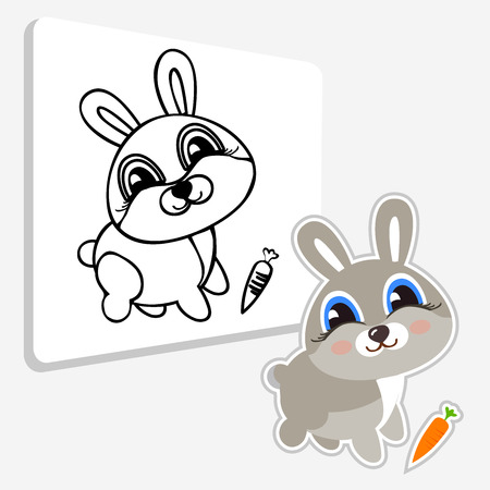 versatile: Funny hare. Illustration color and drawing black and white line. Coloring book educational game for kids. Line icon profile view.