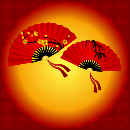 snake calligraphy: Chinese traditional red fan with Chinese symbol. Illustration Set of Red Chinese Fan. Circular Background for text Happy New Year Illustration