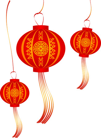 Vector set of red Chinese lanterns circular shape. Lamps Isolated on White Background Illustration