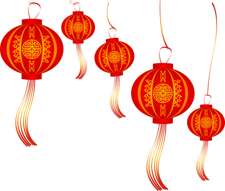Chinese traditional lantern with Chinese symbol. Illustration Set of Red Chinese Lanterns Circular for Happy New Year