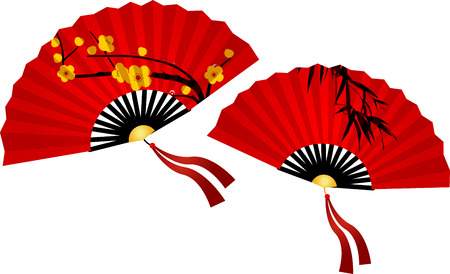 chinese fan: Chinese New Year Greeting Card. Plain red Chinese fan on white background