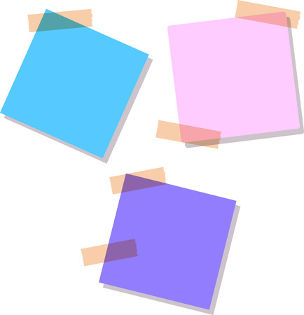 writing pad: Soft blue, purple and pink Sticky notes, isolated on white background, vector illustration Illustration