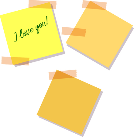 Sticky Notes. Set of yellow sticky notes isolated on white background. Vector illustration,Text I Love you Illustration