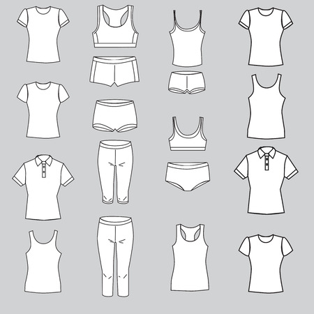 knickers: Vector illustration. Set of womens underwear on a gray background