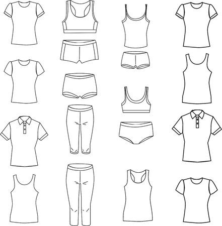 Vector illustration. Set of womens underwear on a white background Illustration
