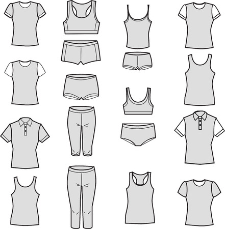 Icons with gray fill. Vector illustration. Set of womens underwear on a white background