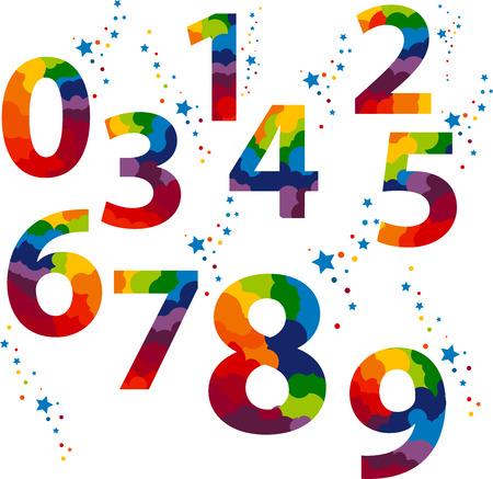 Number letter colored concept. Number one to nine letter. idea numerals typography design element for wedding invitation, mathematics logo symbols mockup. Illustration