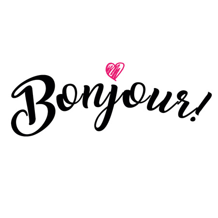 Word hello in French. Bonjour. Fashionable calligraphy. Vector illustration on white background with pink heart icon. Elements for design. Vectores
