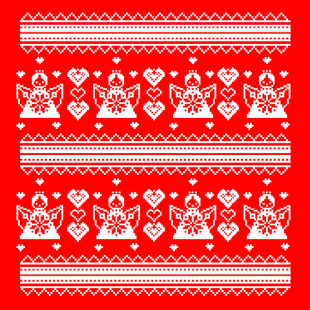 lappet: Slavic pattern ornament cross stitch. style Valentine s Day. Angels and hearts. vector illustration