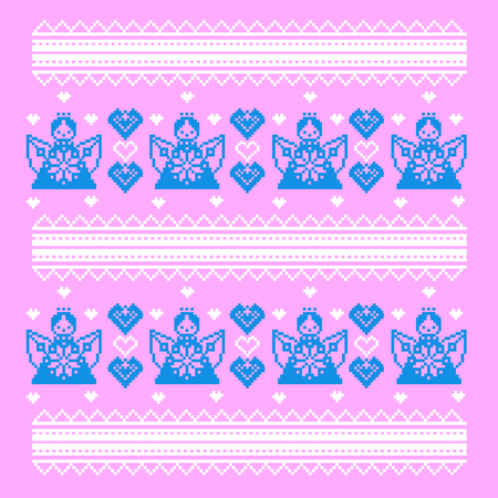 Element of ornament in the Ukrainian style Valentine s Day. Angels and hearts. Vector ethnic pattern