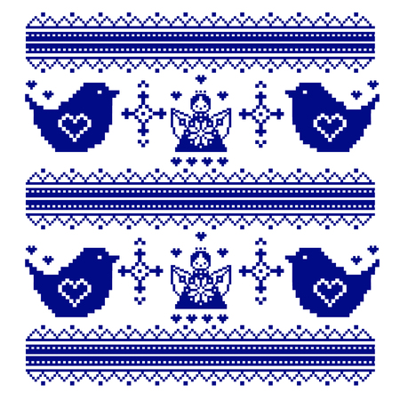 chickadee: Embroidered traditional motif birds chickadee or a sparrow and Angels ornamental pattern. Can be used as pixel-art. Vector illustration.