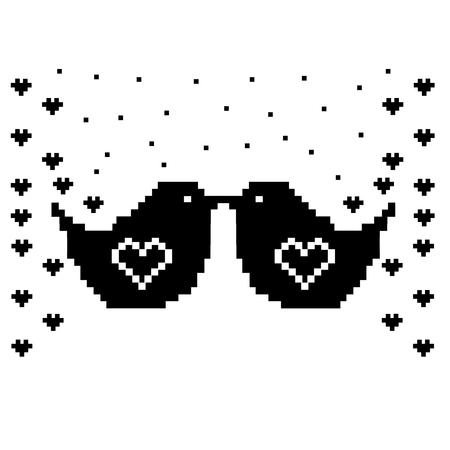 Verzierung Mit Eule Und Herz. Vögel Pixel-Kunst-Vorlage. Kreuzstich ...