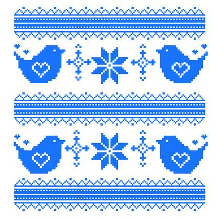ukrainian traditional: kids seamless pixel pattern in the birds. Cross stitch. Valentine s Day. Vector ethnic pattern