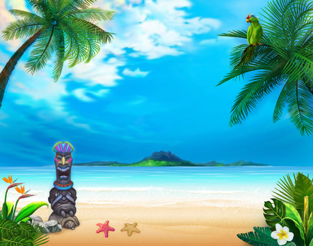 Hawaiian landscape with funny god and green parrot. The picture can be used as wallpaper, card, game background