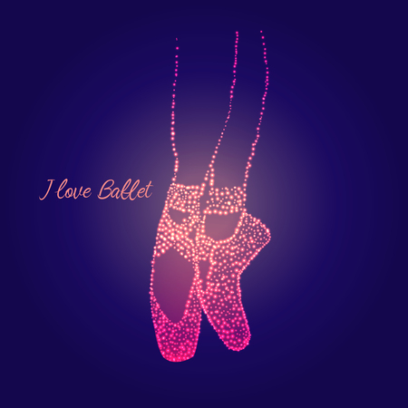 pointes: A pair of well-worn ballet shoes and text I love you jewel, shiny, vector illustration