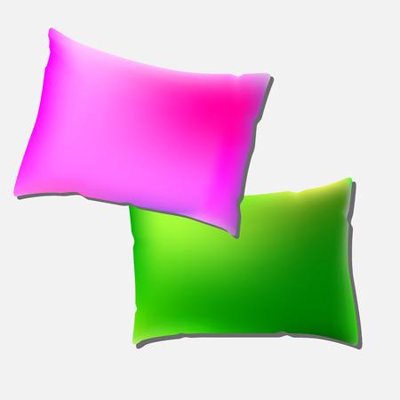 Oreiller rose et vert sur fond clair. Vue de dessus d'un oreiller coloré et coloré avec un espace de copie pour Tex ou Image. Illustration Vectorisée EPS10 Banque d'images - 69992428