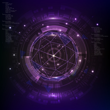 Technology digital background, purple Sci fi futuristic user interface. Vector eps10