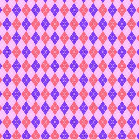 bright pink and purple pattern of diamonds and triangles. Argyle pattern, english style. Geometric background