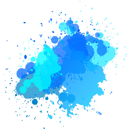 Watercolor background with splashes and drops of blue color. Summer vector. Bright design