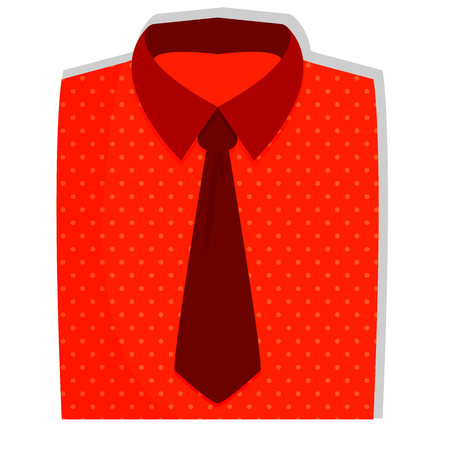 Men s red folded shirt with tie. Shirt flat icon. shirt vector illustration.