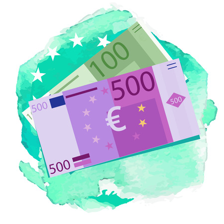 Euro banknotes. Money coins. Simple,watercolor background Graphic vector illustration Illustration