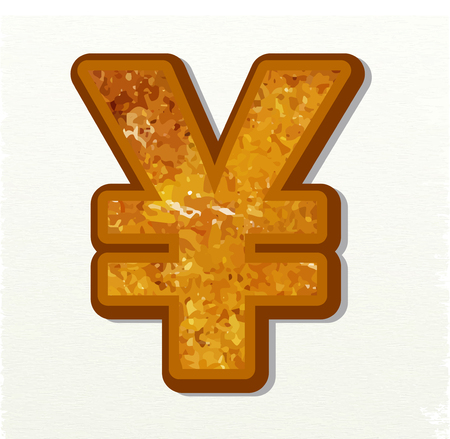 Yen currency sign vector signs gold on white background for app icon or website decoration