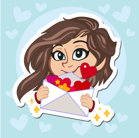 Sweet girl with dark hair in red sweater holding a love letter. Vector cartoon illustration. Character. Postcard, poster. Includes holiday themed.