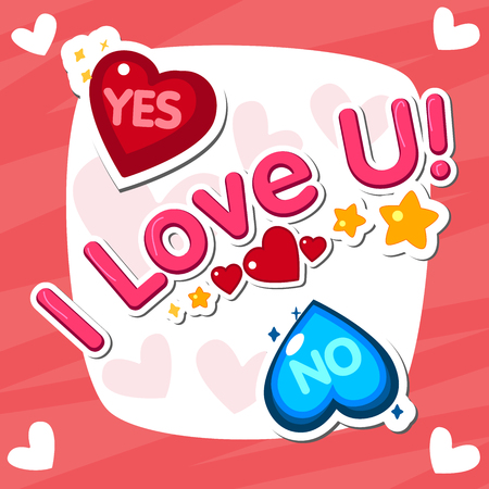 i love you, handwritten abbreviated text with heart shape. Popular phrases. Yes No OK. Sticker Design. Poster design. Vector illustration