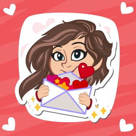 february calendar: Valentines Day greeting card. Love concept in flat style. Vector illustration EPS10. Cute little girl wondering cartoon character