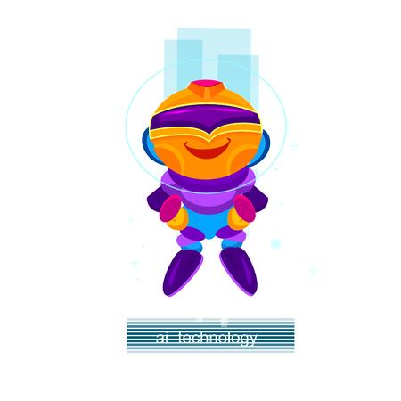 Artificial Intelligence AI , Cartoon robot character. Digital robotic machin. Vector Illustration