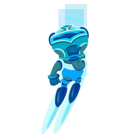 space antenna: Cute cartoon robot character. Blue Robot. Vector illustration