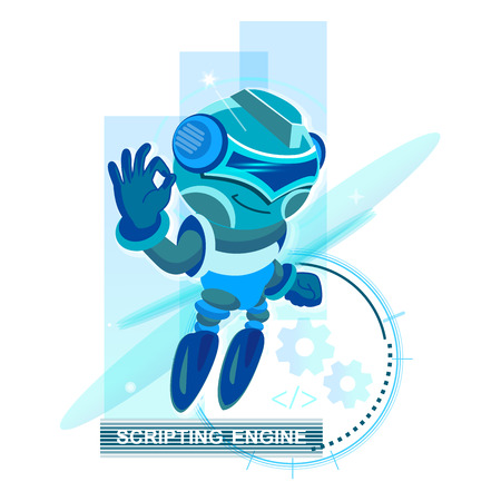 Modern design concept of Artificial Intelligence and Chat Bots, Robots, Virtual Assistance, Scripting Engine. Blue Robot. Design for Website Element , Mobile websites and Apps.