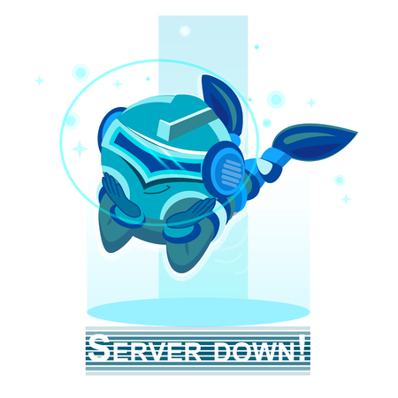 storage device: Flat style, server vector icon illustration. Blue Robot. Design for Website Element