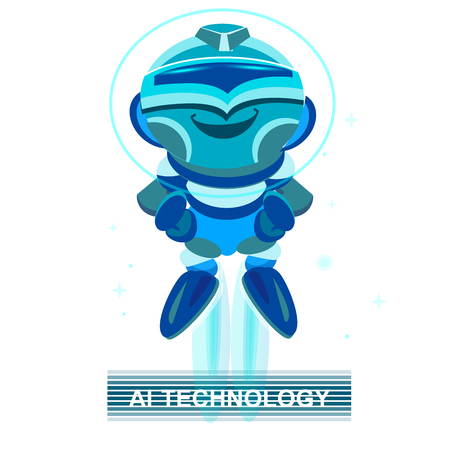 Cute Cartoon Robot. Blue Robot . Modern design concept of Artificial Intelligence and Chat Bots