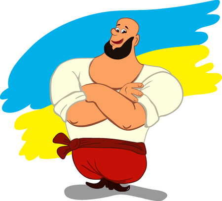 Smiling cartoon man cossack in Ukrainian traditional clothes. Ukrainian flag in background. Separate layers. Vector illustration. Cartoon style Illustration