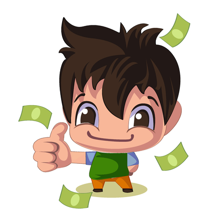 Salesman. Funny guy. Candy from dollars. Vector illustration in cartoon style Illustration
