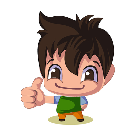 Cartoon businessman, thumb up gesture. Business and manager theme, comic speech and smiling face expression. A boy with dark brown hair, handsome man