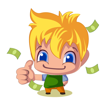 man: successful businessman thumb up money bills pile, vector illustration. Young man, blond with blue eyes Illustration