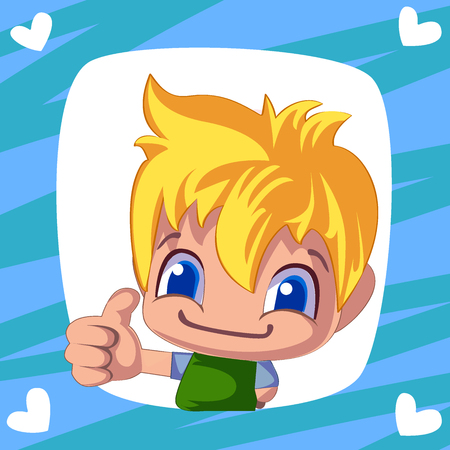cute boy. cartoon man thumb up. Cheerful illustration for your design