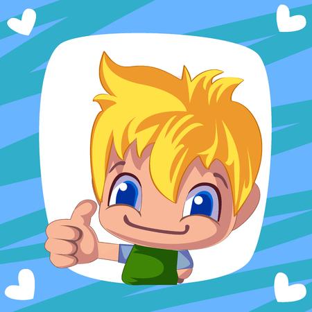 Schattige jongen. Cartoon man duim omhoog. Vrolijke illustratie voor uw ontwerp