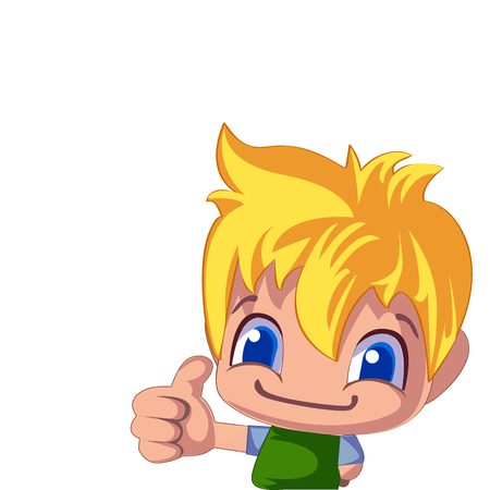 A cheerful illustration of a blond boy holding his finger up. Cartoon illustration isolated on white background Illustration