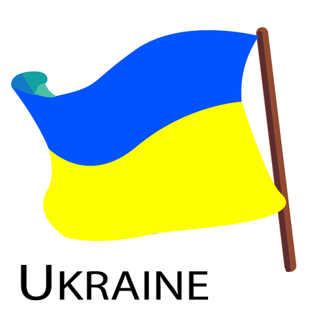 Vector illustration. Flag of Ukraine on flagstaff. Cartoon sticker. Decoration for greeting cards, posters, patches, prints for clothes Ilustração