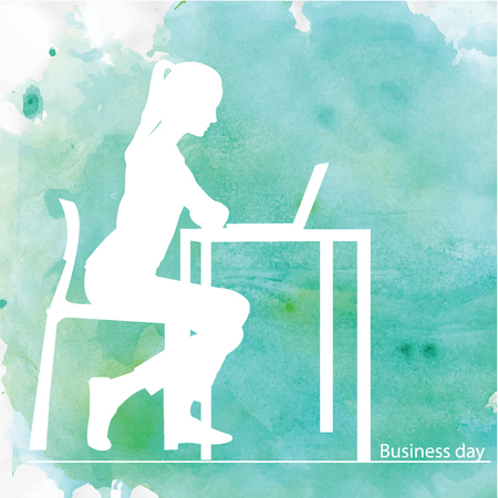 sidewalk talk: Blue and green isolated silhouettes of girl at the table. Vector illustration. Background.