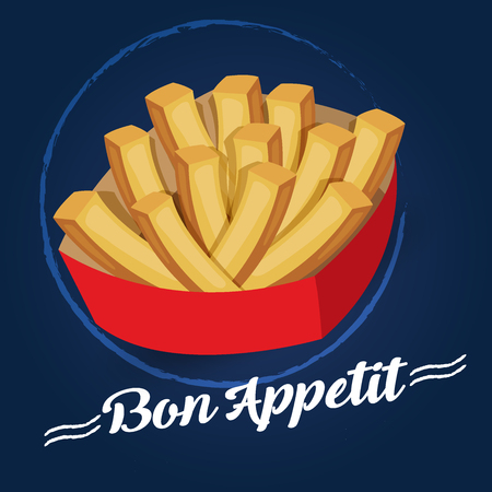 pareja comiendo: Bon appetit potatoes on blue. Transparent objects used for lights and shadows drawing.