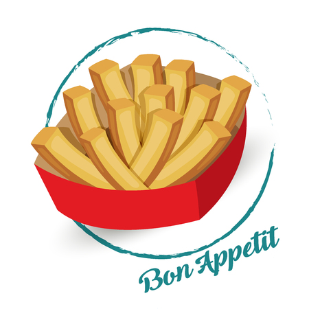 Potatoes with a sign Bon appetit vector illustration. Isolated white background. Transparent objects used for lights and shadows drawing.