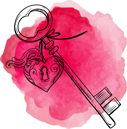 Keys icon vector illustration isolated on pink background. Key with a trinket in form of heart. Ilustração