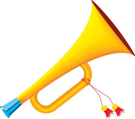 cornet: Trumpet icon isolated on white background. Flat vector illustration trumpet. Golden trumpet. Wind musical instrument- trumpet. Illustration
