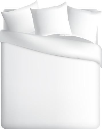 bed sheet: Blank white square pillows, vector illustration. Bed pattern, beds for your design. View from above