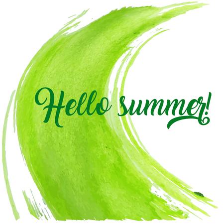 Hallo zomer vectorillustratie, achtergrond. Abstracte illustratie met een teken op witte achtergrond. Hand belettering inspirerende typografie poster, banner.